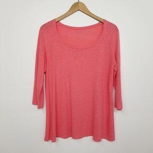Eileen Fisher Pink Linen 3/4 Sleeve Top